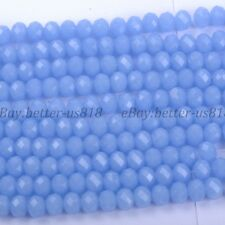 100Pcslight Sapphire Opal Quality Czech Crystal Faceted Rondelle Beads 6MM