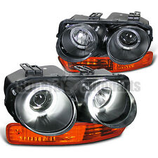 1998-2001 Acura Integra Dual Halo Projector Headlight Black+Amber Bumper Lamps