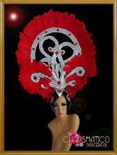 Scarlet feathered silver and ruby cabaret showgirl's Art Deco headdress