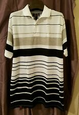 Mecca Mens White with Black and Tan Striped Polo Short Sleeve Shirt, Size M.