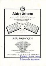Kieler Zeitung Kiel Reklame 1926 Handelsblatt Landeszeitung Schleswig Holstein +