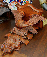 Antique French BLACK FOREST Carved Oak Eagle Bird Wall Clock Shelf Plaque 19thC