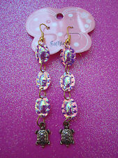 Turtle Back Sequin Earrings With Turtle Dangles
