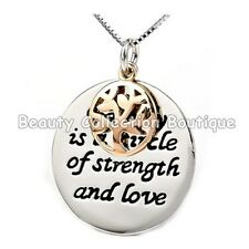 White Gold Plated 'FAMILY IS A CIRCLE OF LOVE''  Necklace Pendant TREE OF LIFE