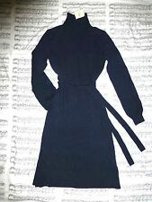 NWT L.L. BEAN SIGNATURE Navy WOOL CASHMERE Turtleneck BELTED Sweater Dress S Sm