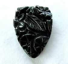 VICTORIAN BLACK  MOURNING CARVED GLASS JET DRESS PIN CLIP
