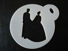 Laser cut small wedding couple design cake, cookie,craft & face painting stencil