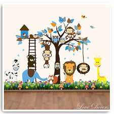 Monkey Wall Stickers Owl Animal Jungle Zoo Tree Nursery Baby Bedroom Decals Art