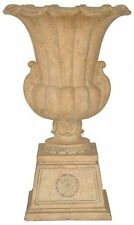 "27"" Tall Aged Cast Stone Garden Urn Planter Pedestal Outdoor Flower Pot Decor"