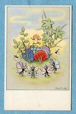 A2445  Postcard  Daester  Easter Eggs in Grass With Dancing Bugs, Plants
