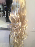 "SWEDISH BLONDE WAVY CURLY 24"" LONG PONY TAIL HAIR EXTENSIONS HAIR PIECE  A"