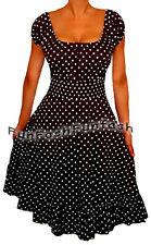 QI9 FUNFASH BLACK WHITE POLKA DOTS ROCKABILLY PEASANT DRESS Size L Large 9 11