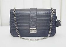 CHRISTIAN DIOR Gray Crocodile Chain Strap Flap Lock Handbag Shoulder Bag Purse