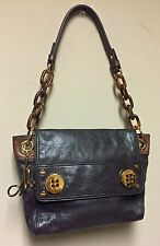 Milly Of NY Brown Leather Chain Link Sachel Handbag