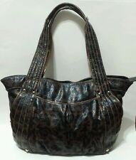 KATHY VAN ZEELAND Leopard Hobo Satchel Handbag Vegan Patent Leather Shoulder Bag