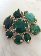 Missoni Vintage Green Faux Turquoise Jade Jeweled Goldtone Brooch Pin