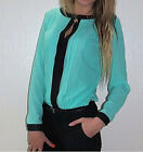 Fashion Womens OL Style Chiffon Long Sleeve Tops T-shirt Blouse Size6 8 10 12 14