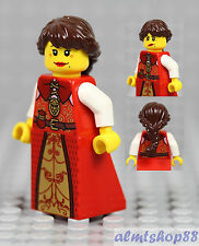 LEGO - Female Minifigure Red/Gold/White Dress & Dark Brown Hair Princess Castle