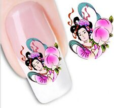Nail Art Sticker Water Decals Transfer Geisha Japanese Lady Girl (DX1265)