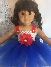 "American Girl Doll tutu dress Red White Blue clothes fits all 18"" dolls"