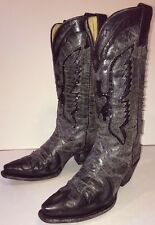CORRAL BOOTS Women's Black Genuine Leather Sequin Eagle Cowboy Boots 7 M