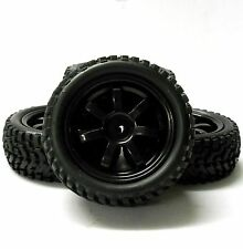 9078 1/10 Scale RC Car Off Road 7 Spoke Wheel and Rally Tread Tyre Black x 4