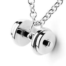 DUMBBELL NECKLACE barbell WEIGHT pendant SILVER 925 charm fitness gym CROSSFIT