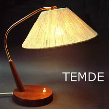 Temde Leuchte Bürolampe Sisalgeflecht Teakholz_vintage teak sisal rope desk lamp