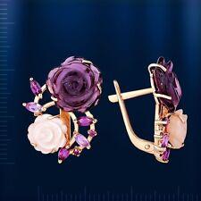 Russische Rose Gold 585 Ohrringe mit Perlmutt & Amethyst. Wunderschön!!!