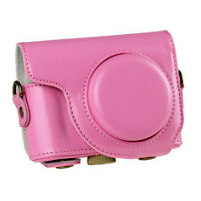 PU Leather Camera Case Cove Bag Pouch for Casio ZR2000 ZR3500 With Strap Pink