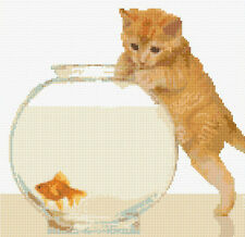 "Ginger Tabby Cat & Goldfish - Cross Stitch Kit 10"" x 10"" - 14 Count Aida, Anchor"