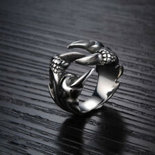 Men's Stainless Steel Fashion Gothic Punk Dragon Claw Biker Finger Rings Gift