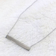 925 Sterling Silver Name Tag Horizontal Stick Necklace Bar Adjustable Chain