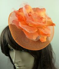 orange satin flower fascinator millinery burlesque wedding hat bridal race