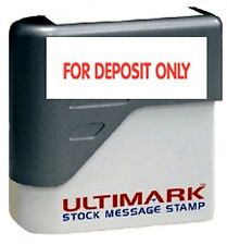 FOR DEPOSIT ONLY text on Ultimark Pre-inked Message Stamp with Red Ink