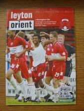 02/10/2002 Leyton Orient v Birmingham City [Football League Cup] (No Apparent Fa