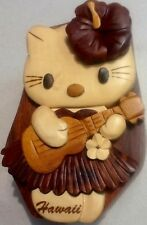 Wood Puzzle Jewelry Box, Hellow Kitty Playing Ukulele Hawaiian Design
