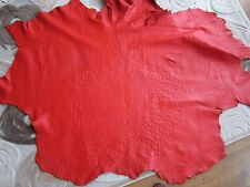Authentic Ostrich Skin leather hide Genuine ostrich leather Red 17.11 sqft