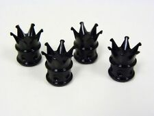 VMS RACING MOTORCYCLE CROWN WHEEL BILLET VALVE STEM CAP BLACK KIT