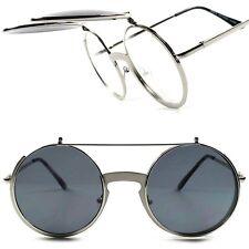 Silver Vintage Retro Steampunk Django Hipster Hippie Flip Up Round Sunglasses G0
