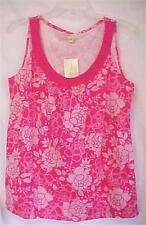 Ladies Size Small S Tank Top Pink & White Flowers Carolyn Taylor Summer New Tags