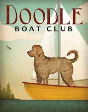 "LABRADOODLE DOG ART PRINT RETRO STYLE ADVERT POSTER ""Doodle Boat Co."" Sailing"