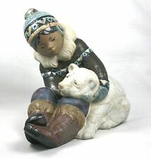 Lladro Gres 2097 Eskimo Inuit Child With Polar Bear Cub First