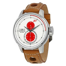 Invicta S1 Rally Chronograph White Dial Light Brown Leather Mens Watch 16018
