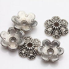50Pcs Tibet Silver Alloy Flower Spacer Bead Caps Jewelry Findings DIY 9x3mm