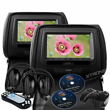 "Black 2X 7"" Headrest Car CD DVD Player Auto Journey Monitor Game System Headsets"