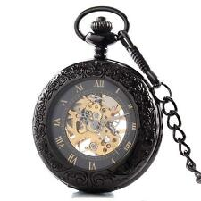 Steampunk Gear Antique style See Through Pocket Watch & Chain #PW19