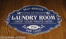 BiG LAUNDRY ROOM METAL Sign*Primitive/French Country Wall/Shelf Decor*Navy BLUE