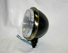 "Black Satin 5-3/4"" Headlight with Antique Brass Trim Ring, Bobber, Chopper"
