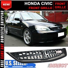 01-03 Honda Civic Rs Jdm Style Front Hood Bumper Mesh Grille Grill Black